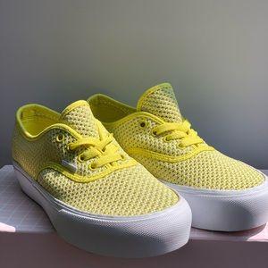 Vans Unisex Platform Yellow Mesh sneaker **NEW**